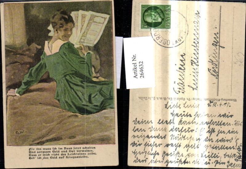 Künstler Ak Brynolf Wennerberg Frau liest Lesen Text