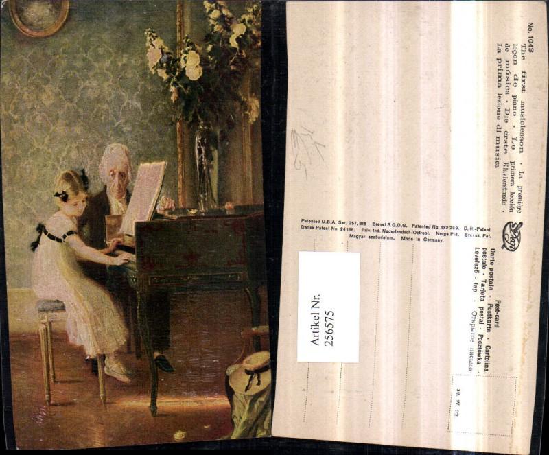 Degi AK 1043 Künstlerkarte Die erste Klavierstunde Mädchen m. Kleid b. Kl
