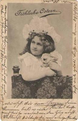 Ostern Mädchen Osterhase Hase 1900
