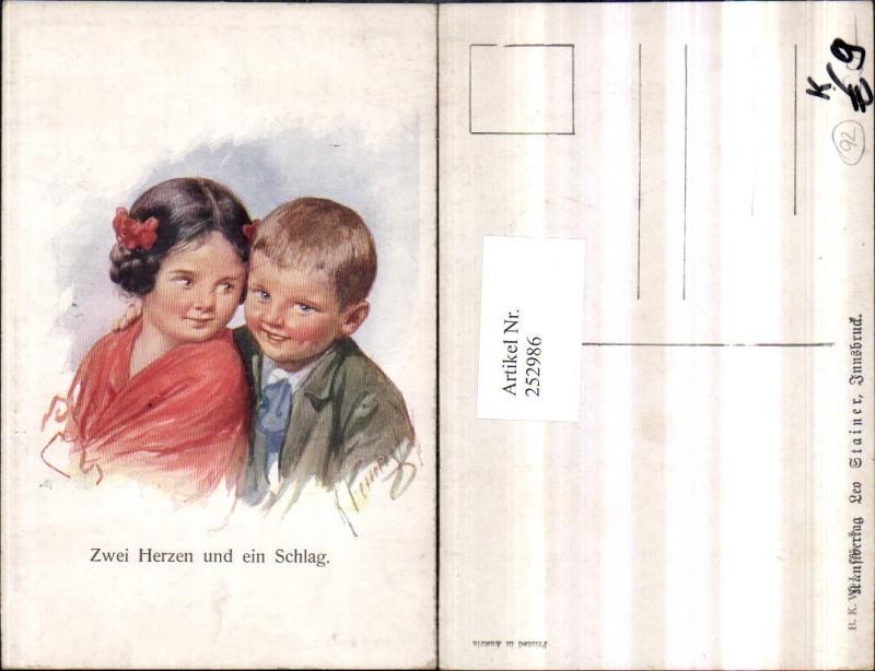 Künstler AK Karl Feiertag Zwei Herzen und ein Schlag Kinder Mädchen Junge