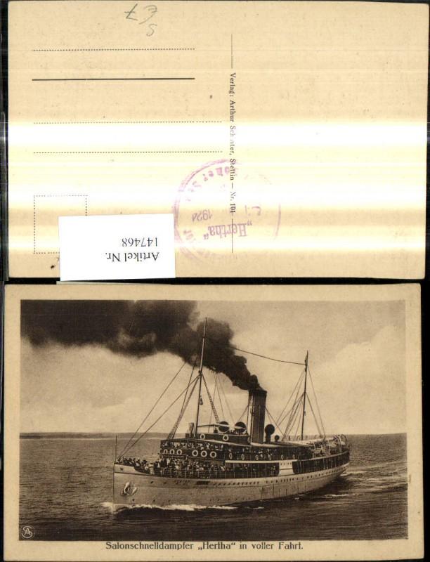 Hochseeschiff Schiff Stempel Salonschnelldampfer Hertha in voller Fahrt 1