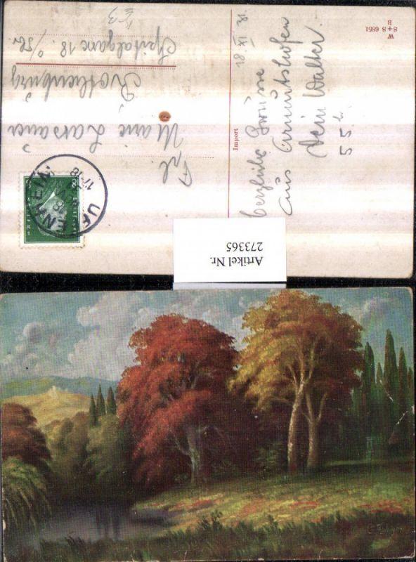 Künstler AK G. Fiebiger Landschaft Wald Fluss Bach