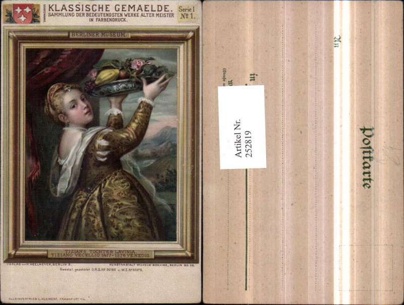 Künstler AK Tiziano Vecellio Tizians Tocher Lavinia m. Kopfschmuck Schüss