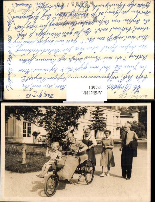 Foto Ak Dreirad Fahrrad m. Personen 1956 Bad Hall