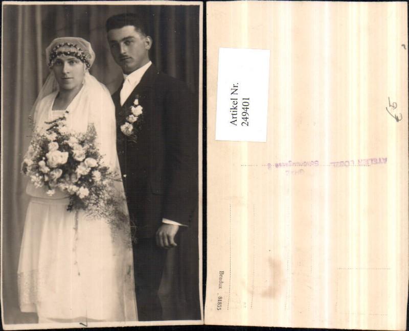 Foto AK Hochzeit Braut Bräutigam Brautkleid Schleier Blumenstrauß ...