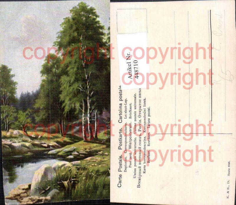 Künstler AK C. Present Landschaft Wald Bach
