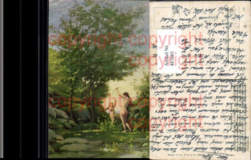 Künstler Ak Jean Bart. Camille Corot Nymphe mit Amor Akt Erotik pub Steng
