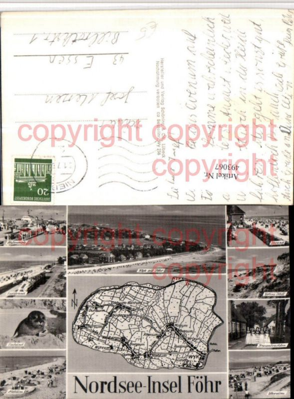 Nordsee Insel Föhr Landkarte Strand Seehund Mehrbildkarte
