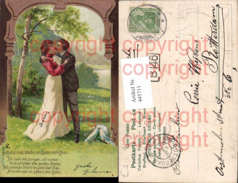 Präge Litho Ach einmal blüht i. Jahr d. Mai Kuss Paar Liebe Text