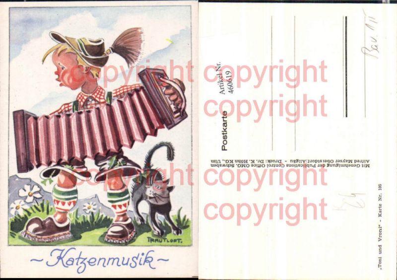 Künstler AK Trautloft 105 Katzenmusik Ziehharmonika Humor