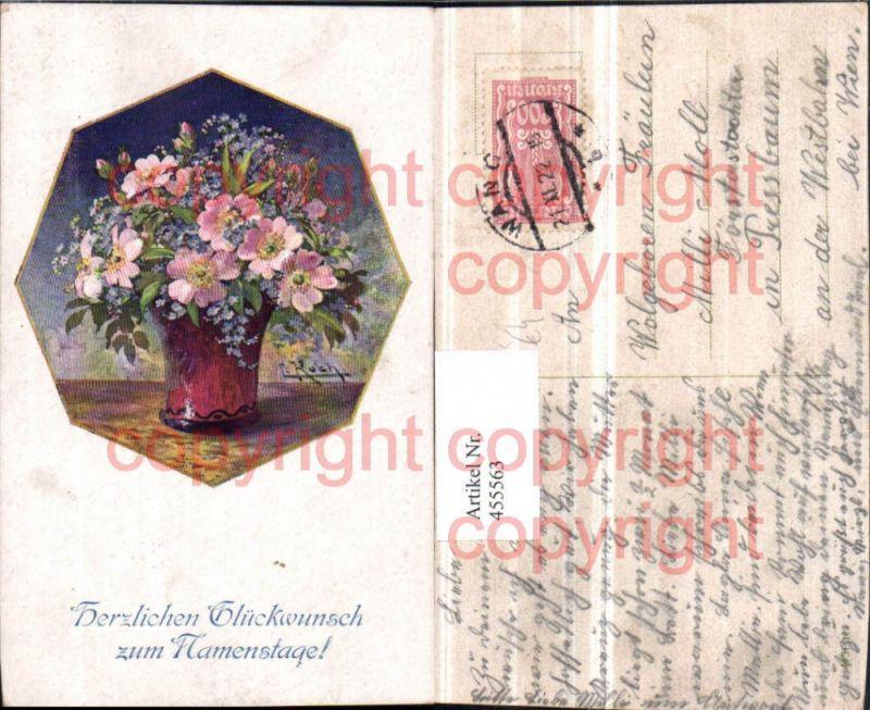 Künstler AK L. Koch Namenstag Blumenstrauß Vase