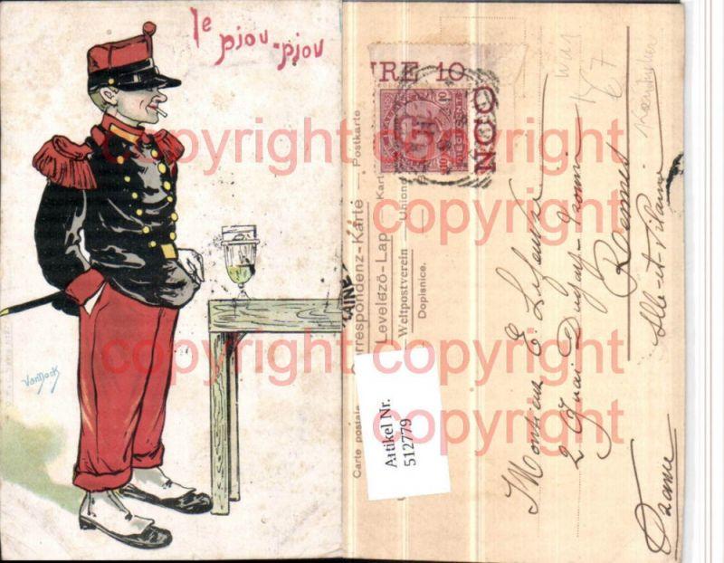 Künstler AK WW1 Karikatur Le Piou-piou Soldat Uniform Zigarette