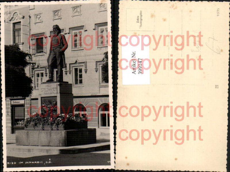 Foto AK Ried im Innkreis Franz Stelzhamer Denkmal Statue