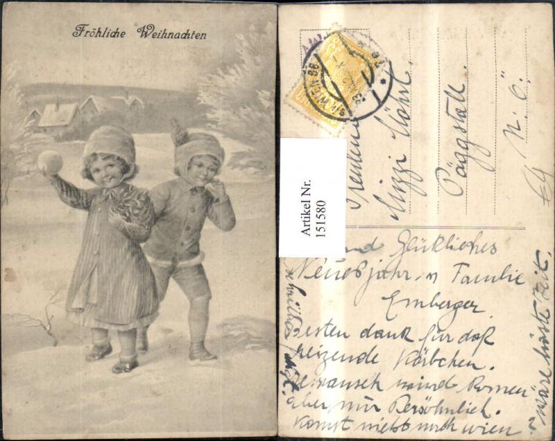 Weihnachten Kinder b. Schneeballschlacht Schneeball Nr. 151580 ...
