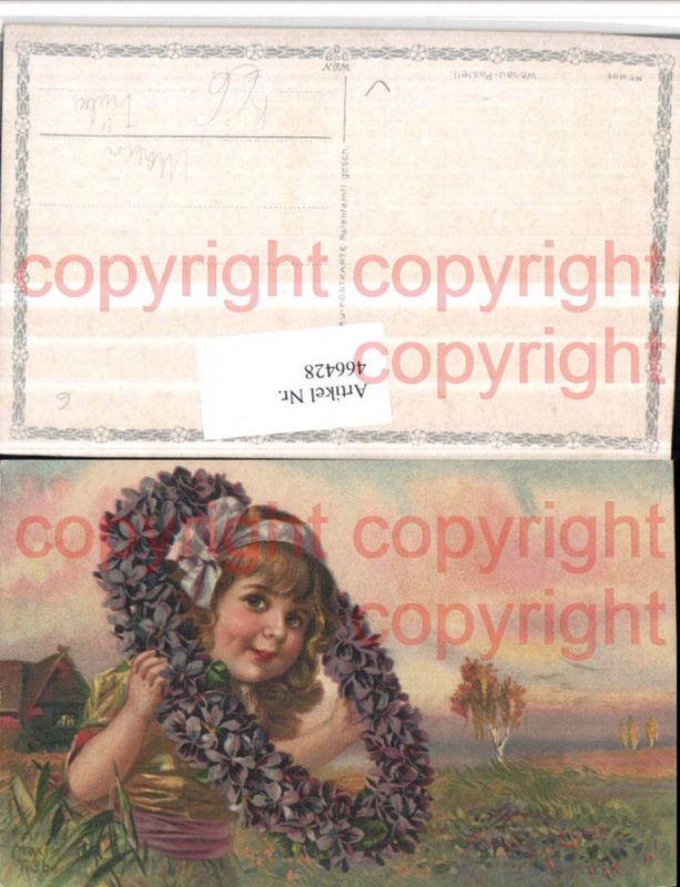 Künstler AK Maxim Trübe Kind Mädchen Blumenring Veilchen