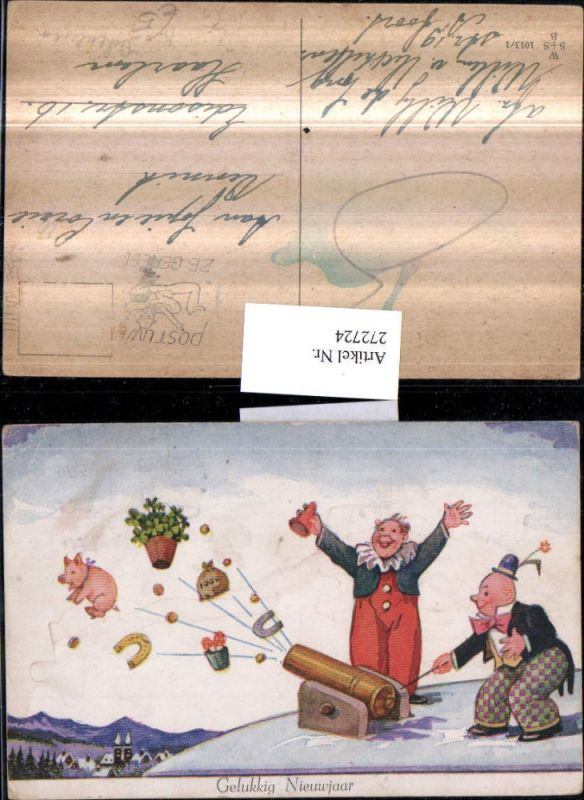 Künstler AK Willi Scheuermann John Willis Neujahr Männer Clowns zünden Ka