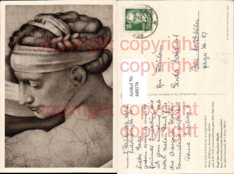 Künstler AK Michelangelo Buonarroti Kopf der libyschen Sibylle