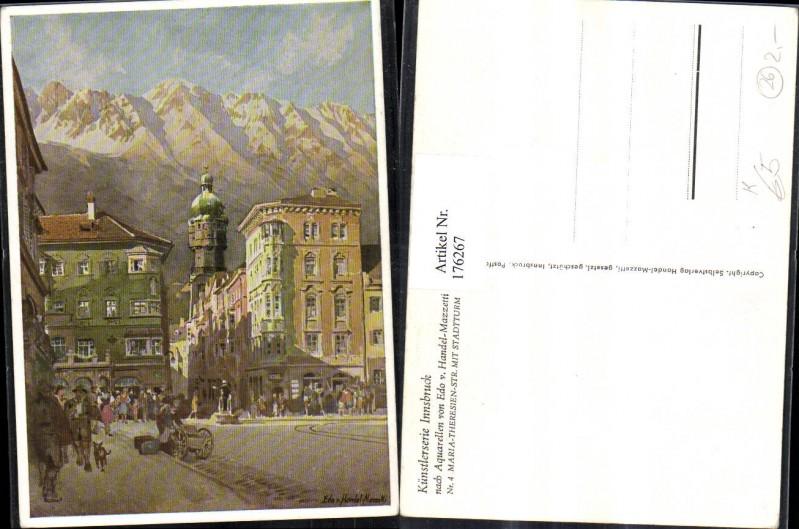 Künstler AK sign. Edo v. Handel-Mazzetti Maria-Theresien-Straße m. Stadtt