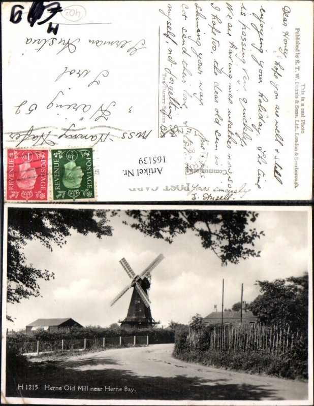 Herne Old Mill near Herne Bay Windmühle Strassenansicht 1938