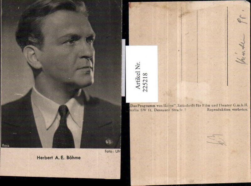 Schauspieler Herbert A. E. Böhme Portrait pub Ross Berlin