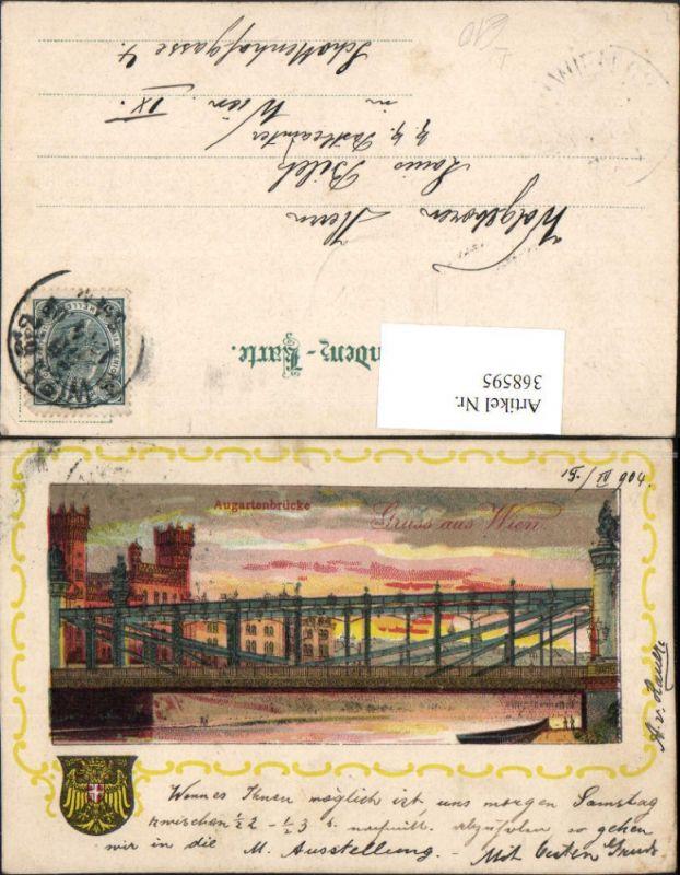 Litho Gruß aus Wien Alsergrund Augartenbrücke Brücke Passepartout