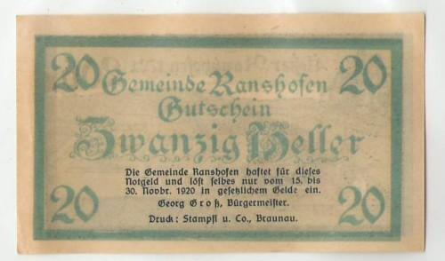 16811;Notgeld Ranshofen 20 Heller