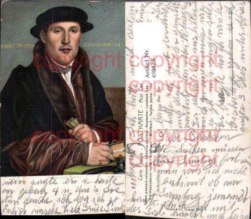 Stengel Co 29755 Künstler H. Holbein Bildnis eines Mannes Hut