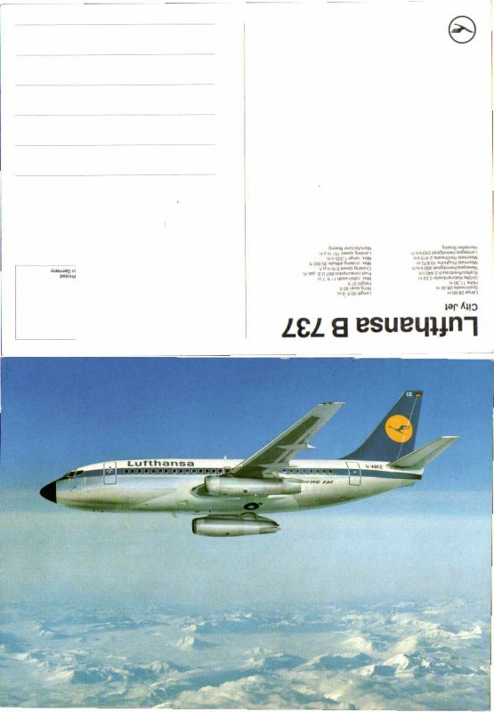 55865;Lufthansa Boeing 737 City Jet Flugzeug