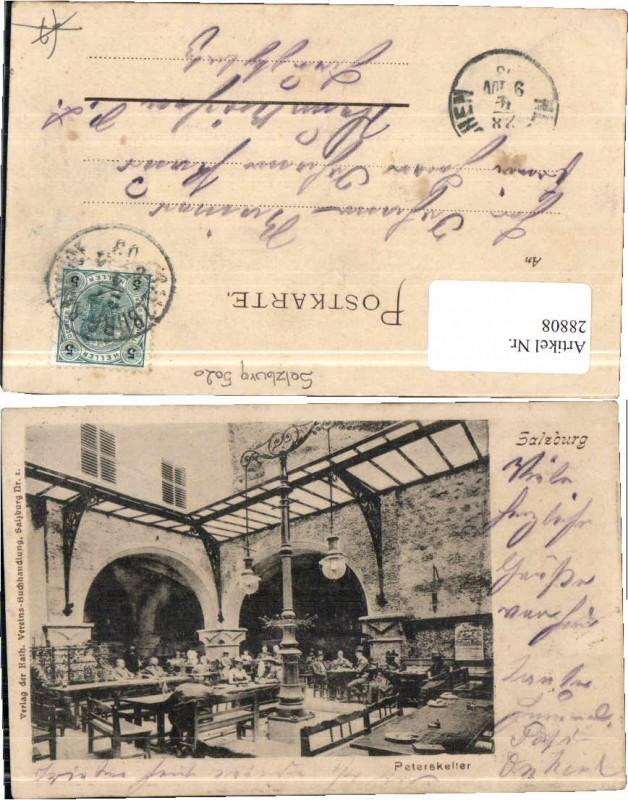 28808;Salzburg Peterskeller Gasthaus Gastgarten Leute
