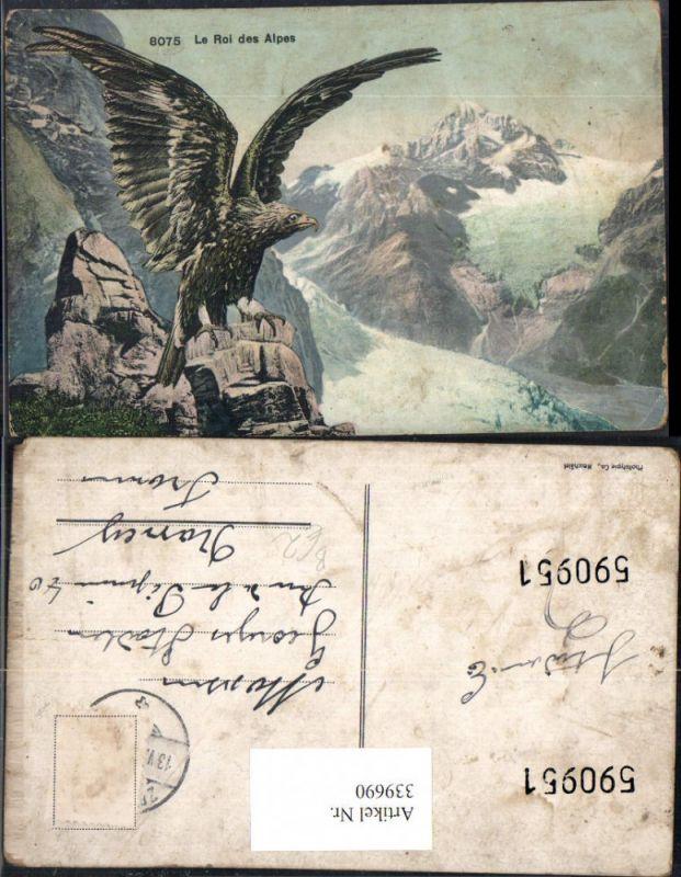 Künstler Ak Tiere Vögel Le Roi des Alpes Adler Bergkulisse Gebirge Raubvo