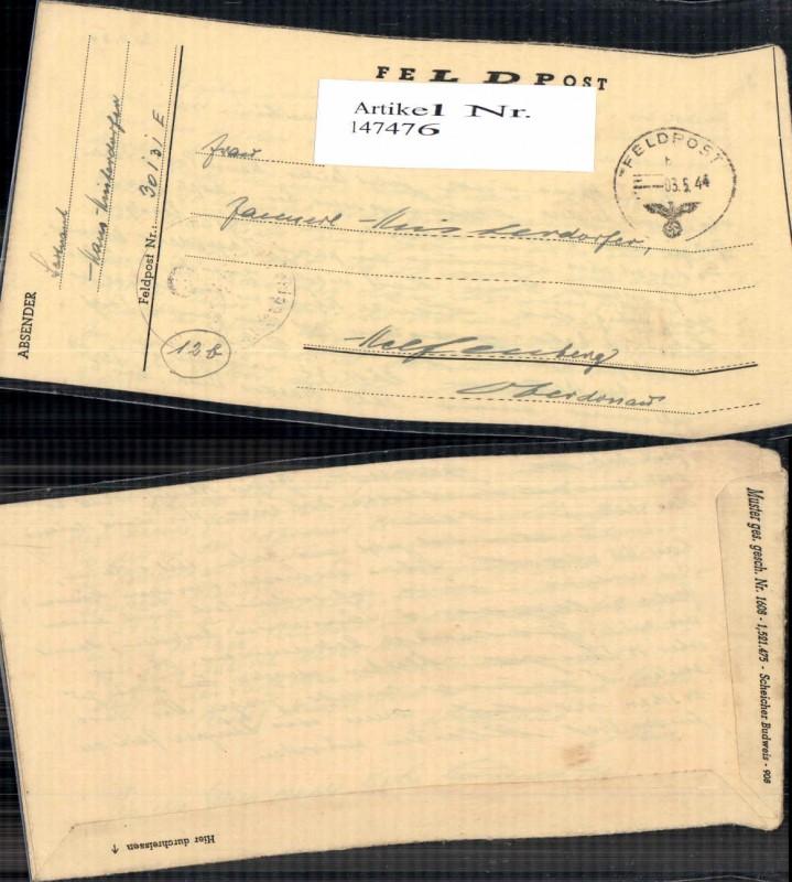 WW2 WK2 Feldpost 1944 Hinterdorfer Dienststelle 30131 Helfenberg