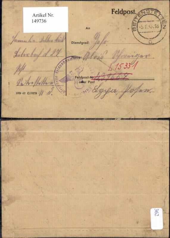 Feldpost Beleg Seitenstetten 1943 an Dienststelle 15331 Posen