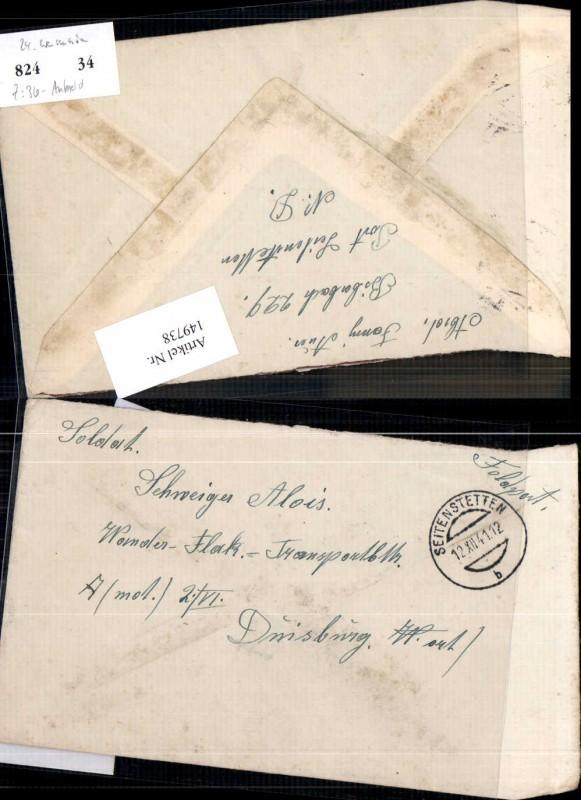 Feldpost Seitenstetten nach Duisburg 1941 Schweiger Alois
