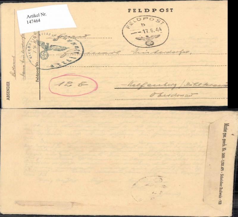 WW2 WK2 Feldpost 1944 Hinterdorfer Helfenberg Mühlkreis