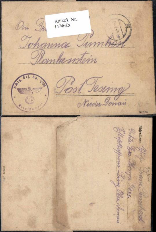 WW2 WK2 Feldpost Schützen Ers. batl. 1/133 nach Plankenstein Texing Pumhö