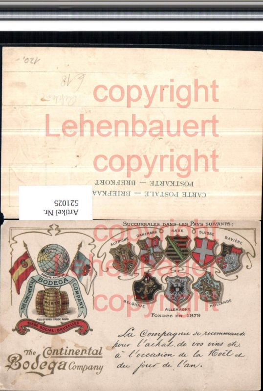 Reklame Präge Litho Wein The Continental Bodega Company Wappen