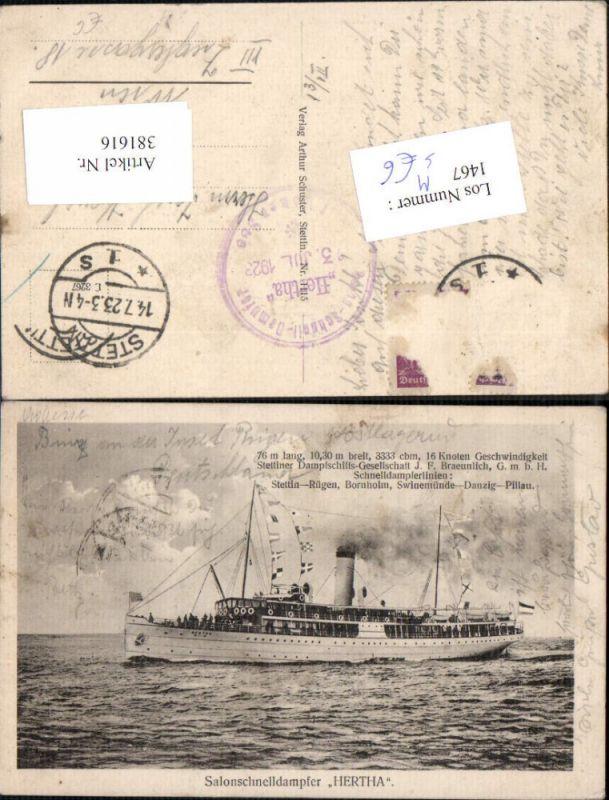 Schiff Hochseeschiff Salonschnelldampfer Hertha Dampfer Stempel Herth Dam