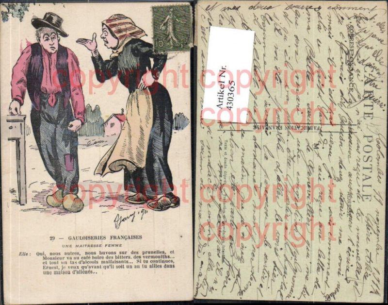 Gauloiseries Francaises Ehefrau m. Betrunkenen Ehemann Text Trinkerhumor