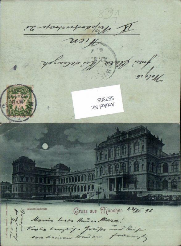 Mond Lithographie Gruß aus München Kunstakademie 1898 pub Römmler & Jonas