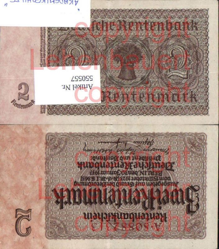 Zwei Rentenmark Deutsche Rentenbank 1937 Geld Geldschein
