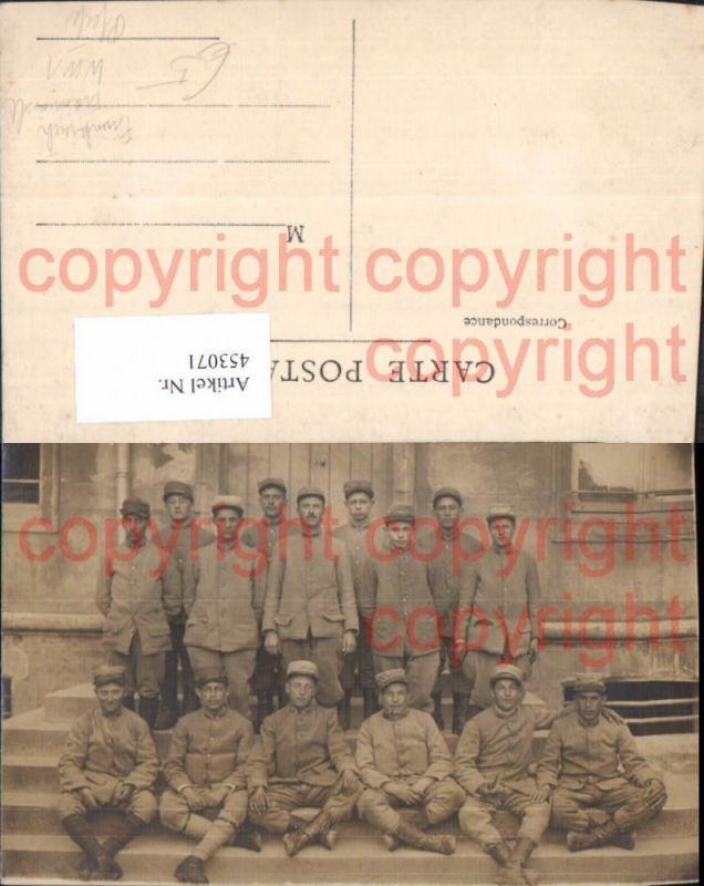 WW1 Französische Soldaten Uniform Gruppenbild Frankreich Pfeife