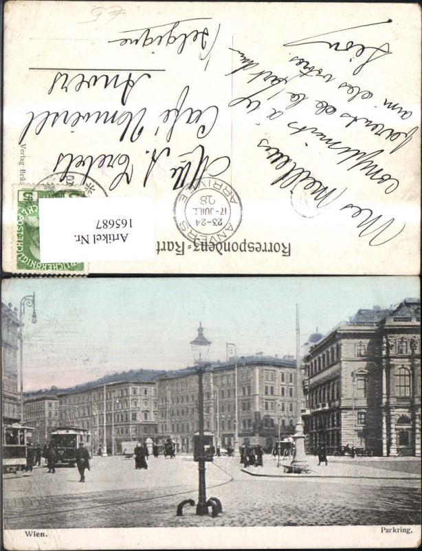 Wien 1 Parkring Strassenbahn Kutsche 1908