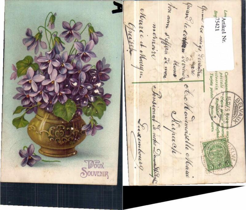 75421;Präge AK Veilchen Blumen in Vase