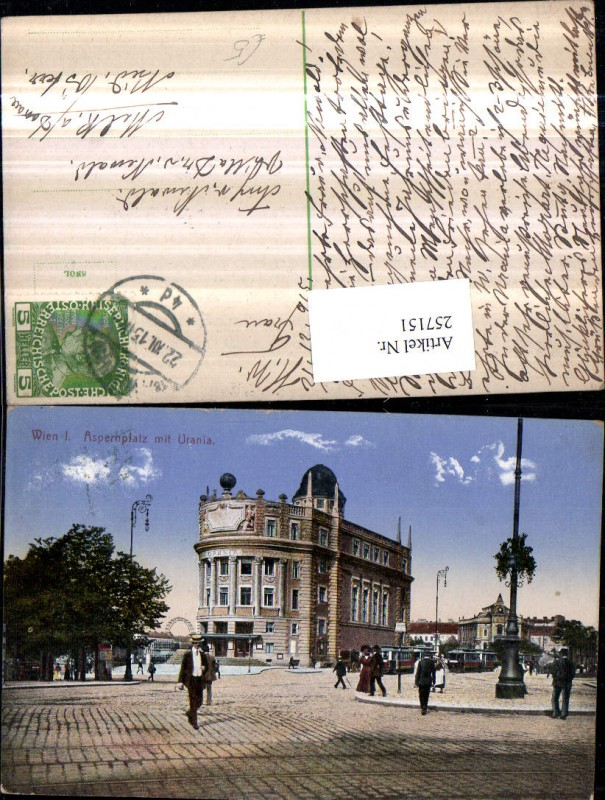 Wien 1 Aspernplatz m. Urania Gebäude Straßenansicht