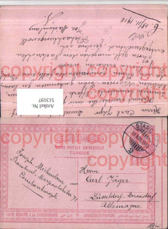Ganzsache Stempel Stamboul Istanbul 1910 Türkei gel. Düsseldorf Derendorf