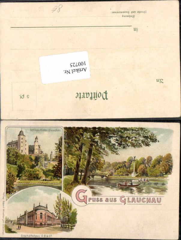 100725;Tolle Litho Gruss aus Glauchau Geschäftshaus Schloss