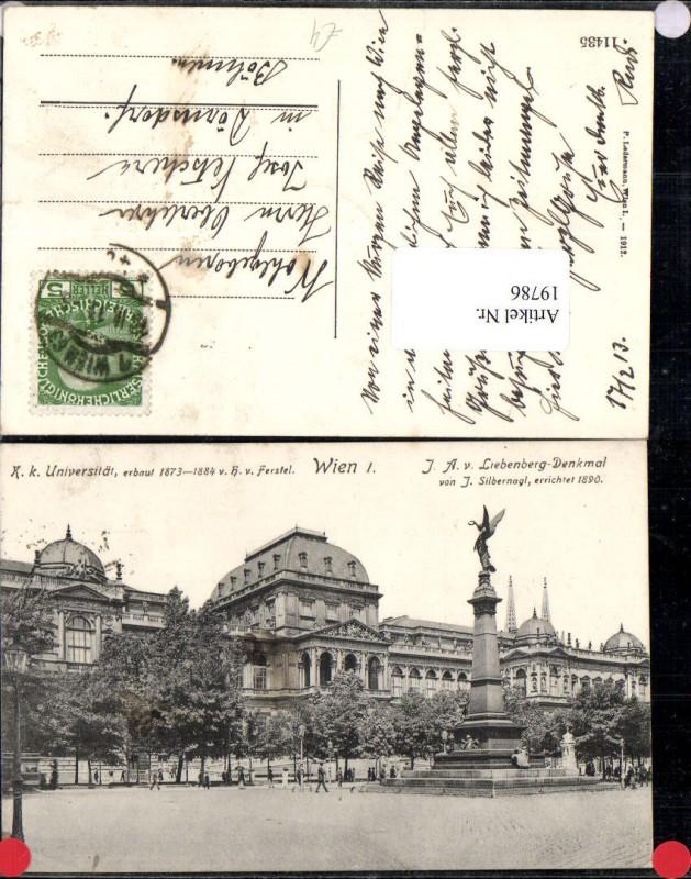 Wien 1 K und K Universität mit J. A. Von Liebenberg Denkmal