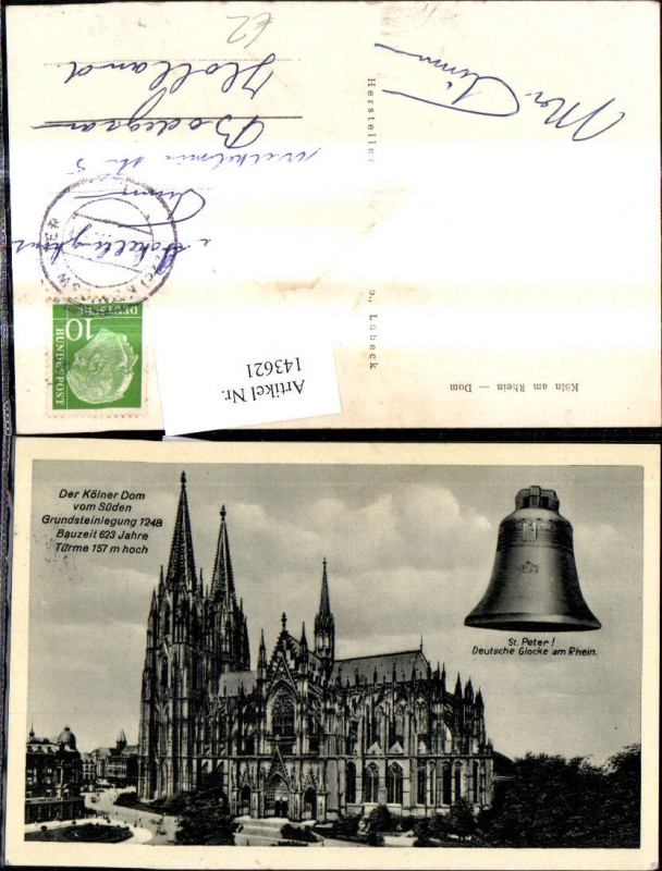 Fotomontage Köln a. Rhein Dom v. Süden St Peter Deutsche Glocke a. Rhein