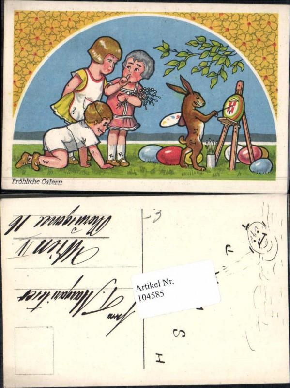 104585ostern Süsse Kinder Osterhase Malt Ostereier
