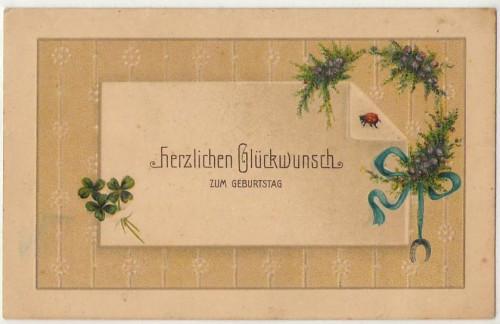 Geburtstag Blumen Maikäfer Präge Karte